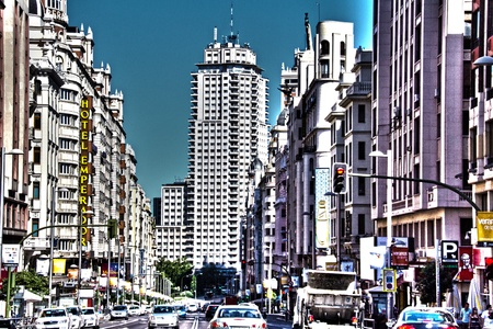 Historic buildings in the city of Madrid, Spain photo