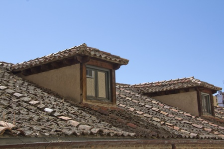 medieval streets of Segovia, Spain photo