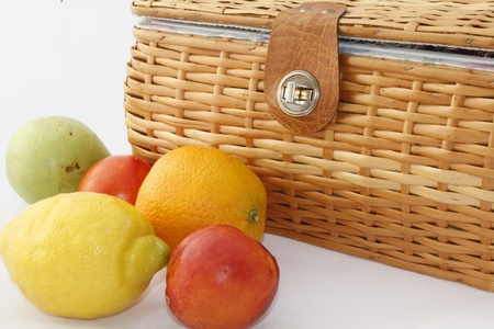 picnic basket with fruit photo