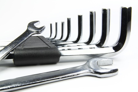 chrome wrenches on white background and allen photo