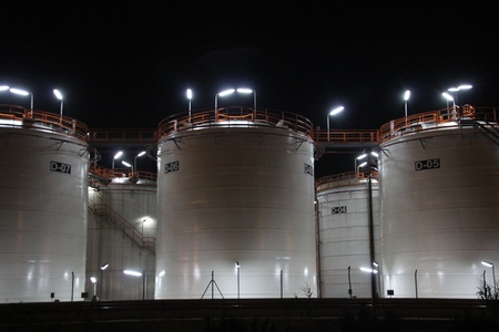 oil tank at night photo