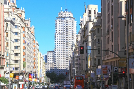 Historic buildings in the city of Madrid, Spain Editorial