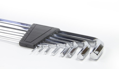 Allen wrench set chrome with white background photo