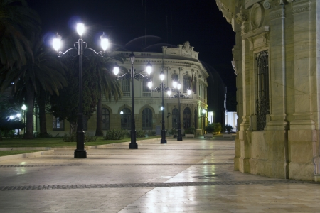 at town square: streets of the city of Cartagena at night with lighting, spain
