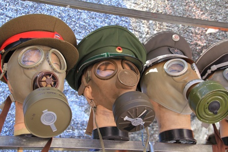 old military gas masks photo