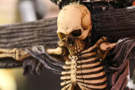 scary skeleton crucified photo