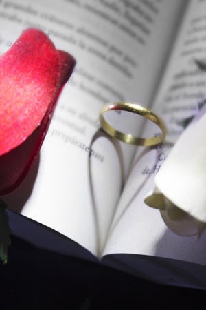 gold ring and book a romantic heart forming photo
