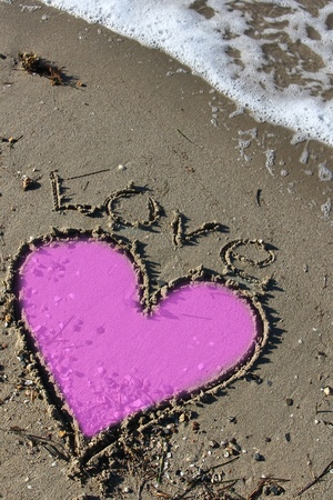 love and heart in the beach sand photo