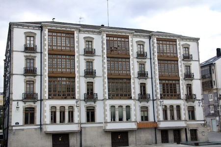 detail of typical buildings in the city of Lugo, spain