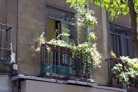 Typical facade of building in Madrid Spain