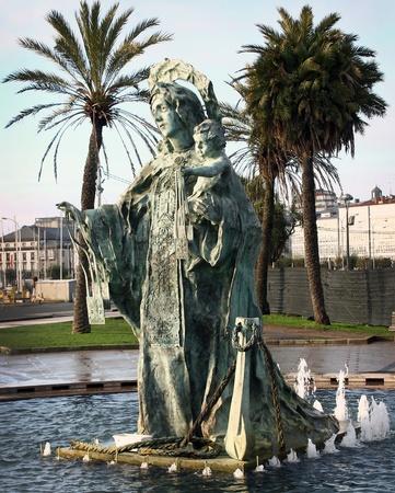 virgin sculpture in Coruna, Spain