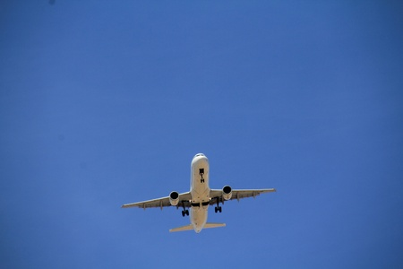 plane on approach and landing phase photo