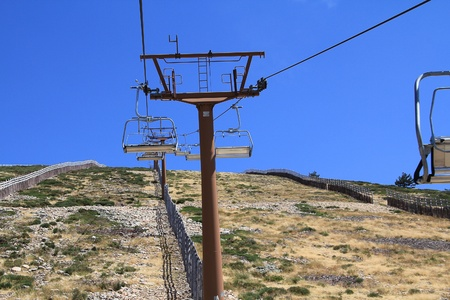 Close to the mast of a chairlift photo