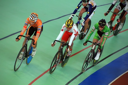 Galapagar, Spain - APRIL 6 - Spain Championship Indoor Track Cycling, APR, 6 2012 in Galapagar Spain Stock Photo - 13062534