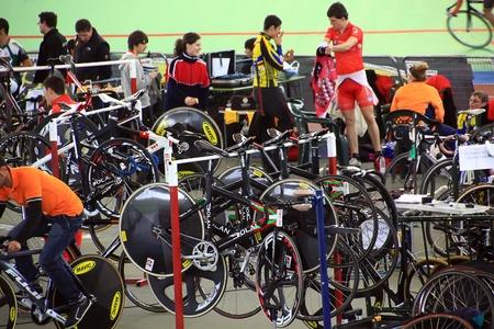 trial indoor: Galapagar, Spain - APRIL 6 - Spain Championship Indoor Track Cycling, APR, 6 2012 in Galapagar Spain
