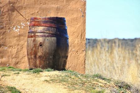 old oak cask for storing wine photo