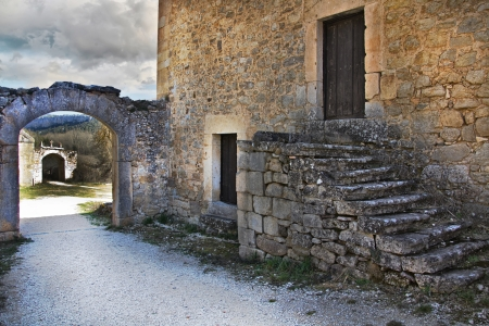 staircase entrance medieval old house photo