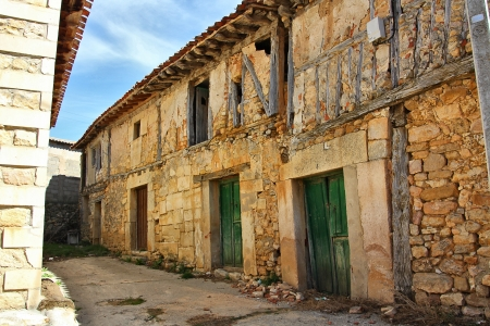 old rustic houses tourist town of Santo Domingo de Silos in Spain Stock Photo