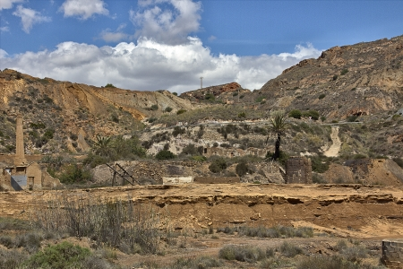 iron mine open pit in the region of Cartagena Spain photo