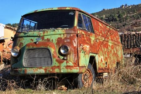 rusty car: old green van abandoned old rusty