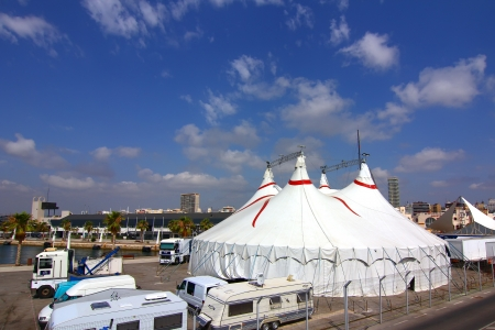 circus big top white with blue sky