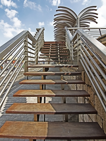 modern steel staircases and wood photo