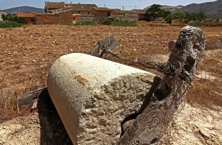 millstone: ancient millstone grit Stock Photo