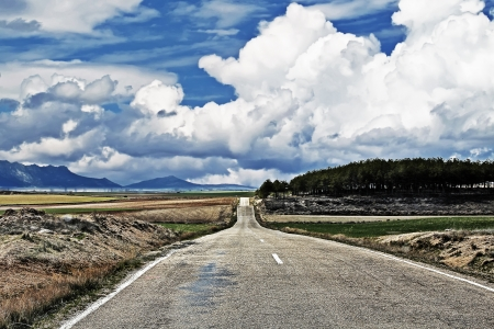 country road that is lost in the horizon Stock Photo - 14965587