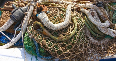 nets and fishing gear at sea photo