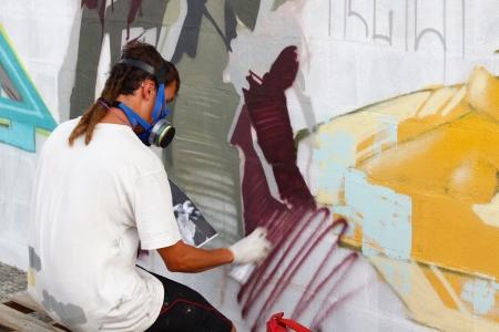 Madrid, SPAIN Sep 18 - graffiti artists work on their creations to the public during the festival - Graffiti and Dance first international festival, Aqui huele a pintura ,Spain September 2012