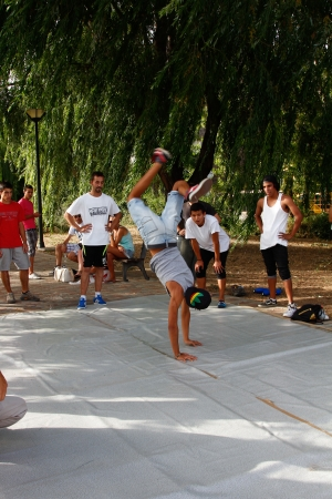 Madrid, SPAIN Sep 18 - participants perform their incredible break dance moves and jumps to the astonished public - Graffiti and Dance first international festival, Aqui huele a pintura ,Spain September 2012