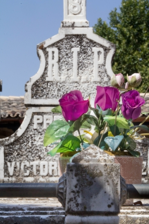 old cemetery with granite sculptures photo