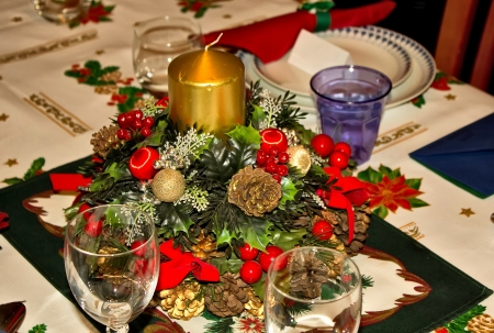 table prepared for Christmas dinner photo