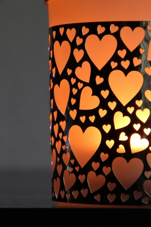 beautiful candle holder with hearts grinder photo