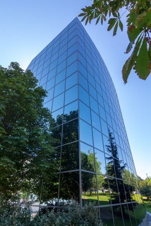 MADRID, SPAIN OCT 15: Modern building with glass architecture on October 15 2012, In one of the most modern financial areas of Madrid, recently premiered this modern complex of offices for rent. Stock Photo - 16704954