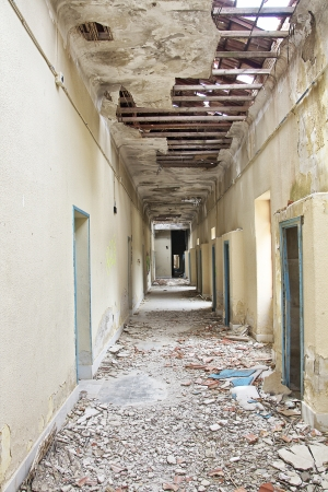 corridors and roofs destroyed house broken Stock Photo