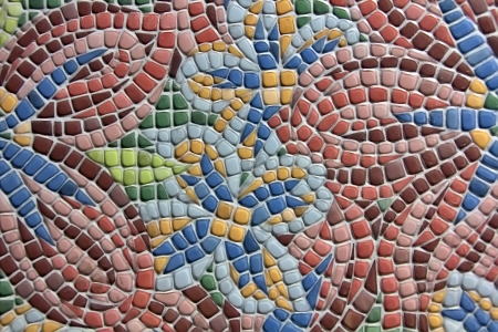 colored pavement forming figures
