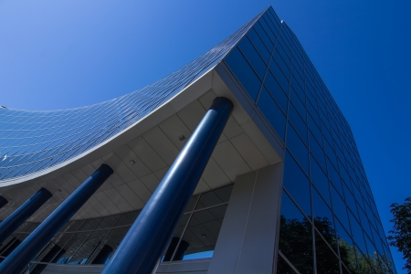 MADRID, SPAIN OCT 15: Modern building with glass architecture on October 15 2012, In one of the most modern financial areas of Madrid, recently premiered this modern complex of offices for rent. Stock Photo - 17741955