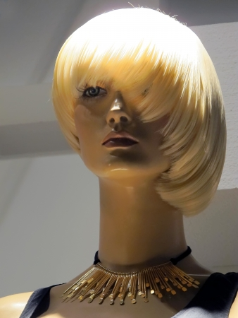 female likeness: beautiful mannequin with blond bob