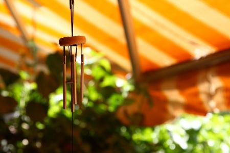 wind chime: door bell made of wood and steel pipes