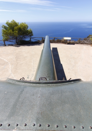 battery of coastal artillery of a powerful cannon in impressive perspective