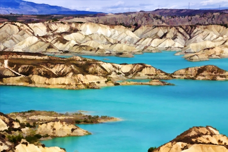 impressive dam colorful waters south of Spain photo