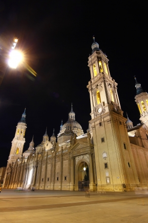 night Cathedral Basilica of our Lady of the pillar built in the year 1681 in Zaragoza, Spain