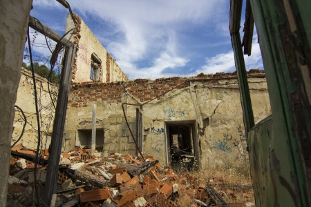 devastation: house destroyed by an explosion full of debris Stock Photo