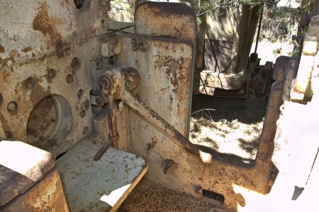 machines in old abandoned mine train photo
