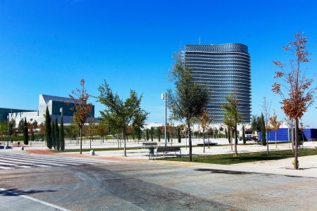 Modern building with glass architecture on October 5 2012, Water Tower, symbol of the Universal Exhibition in Zaragoza 2008. photo