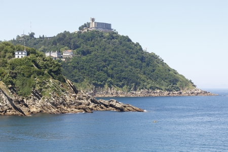 sunny view of the beautiful bay of San Sebastian, Spain photo