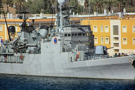 destroyer: modern warships moored in port