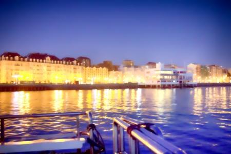 night landscape of the city of Santander, Spain from the sea