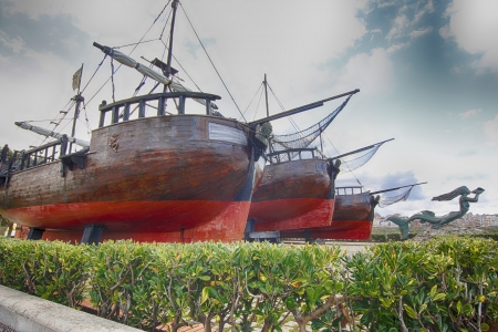 caravel: old pirate ship caravel